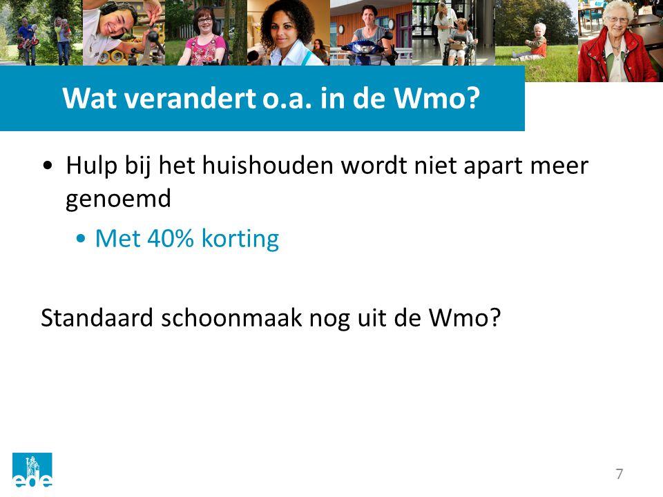 7 Wat verandert o.a. in de Wmo? Hulp bij het huishouden wordt niet apart meer genoemd Met 40% korting Standaard schoonmaak nog uit de Wmo?