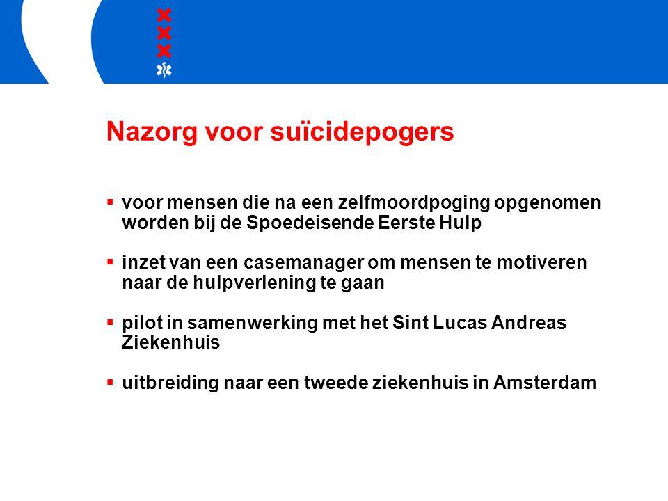 Nazorg voor suïcidepogers  voor mensen die na een zelfmoordpoging opgenomen worden bij de Spoedeisende Eerste Hulp  inzet van een casemanager om men