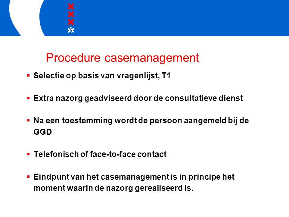 Procedure casemanagement  Selectie op basis van vragenlijst, T1  Extra nazorg geadviseerd door de consultatieve dienst  Na een toestemming wordt de