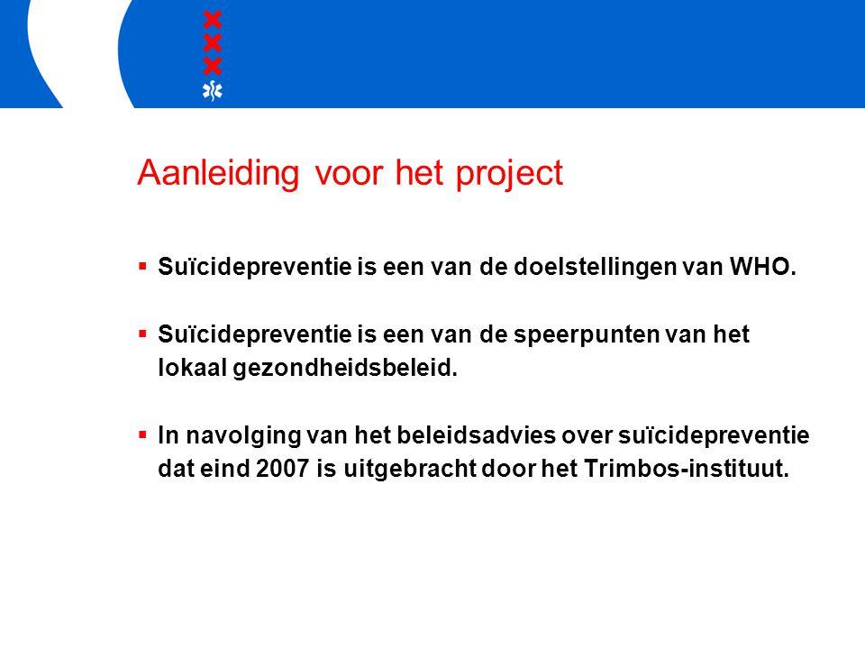 Aanleiding voor het project  Suïcidepreventie is een van de doelstellingen van WHO.  Suïcidepreventie is een van de speerpunten van het lokaal gezon