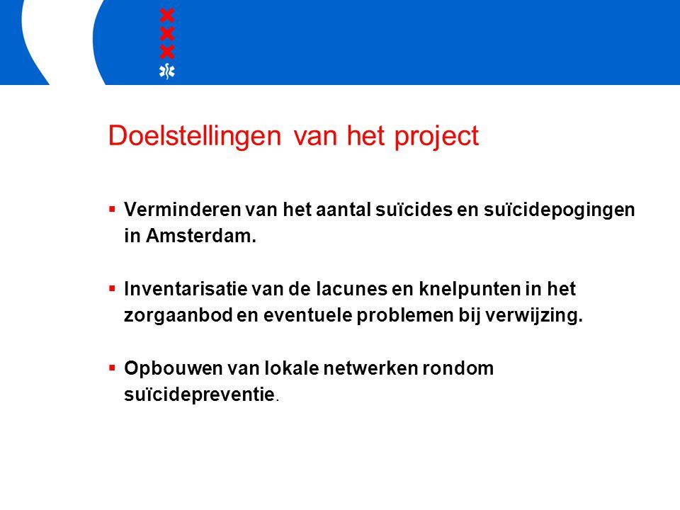 Doelstellingen van het project  Verminderen van het aantal suïcides en suïcidepogingen in Amsterdam.  Inventarisatie van de lacunes en knelpunten in