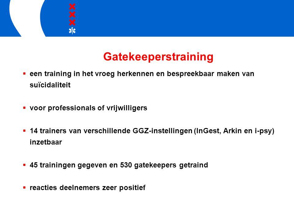 Gatekeeperstraining  een training in het vroeg herkennen en bespreekbaar maken van suïcidaliteit  voor professionals of vrijwilligers  14 trainers