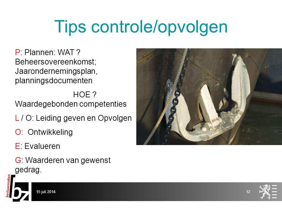 Tips controle/opvolgen P: Plannen: WAT .