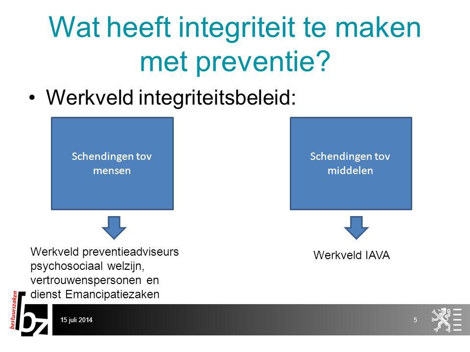 15 juli 20146 Wat heeft integriteit te maken met preventie.