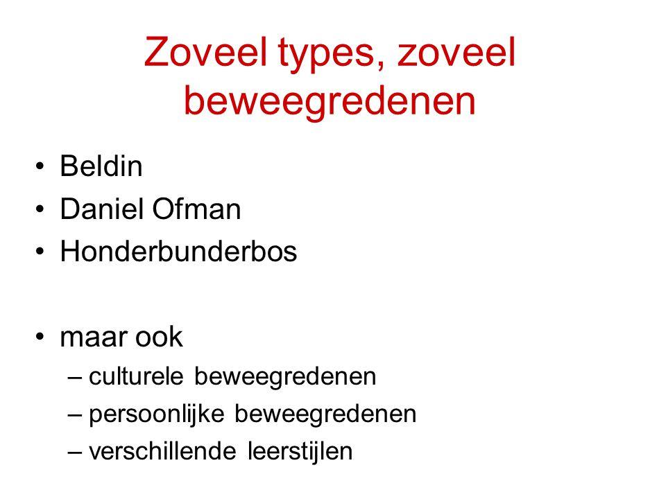 Zoveel types, zoveel beweegredenen Beldin Daniel Ofman Honderbunderbos maar ook –culturele beweegredenen –persoonlijke beweegredenen –verschillende le