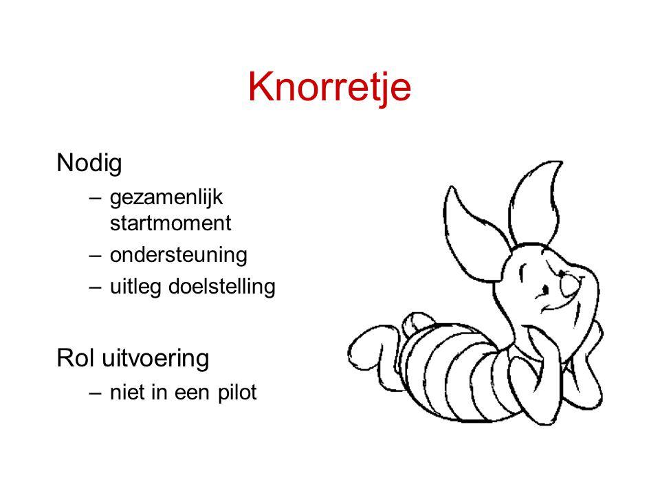 Knorretje Nodig –gezamenlijk startmoment –ondersteuning –uitleg doelstelling Rol uitvoering –niet in een pilot