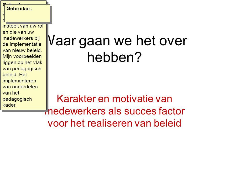 Waar gaan we het over hebben? Karakter en motivatie van medewerkers als succes factor voor het realiseren van beleid Gebruiker: we kiezen in deze pres