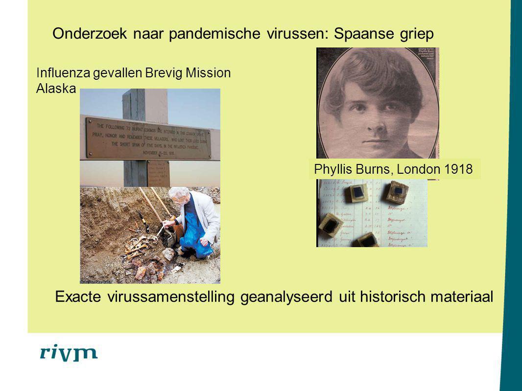 Onderzoek naar pandemische virussen: Spaanse griep Influenza gevallen Brevig Mission Alaska Phyllis Burns, London 1918 Exacte virussamenstelling geanalyseerd uit historisch materiaal
