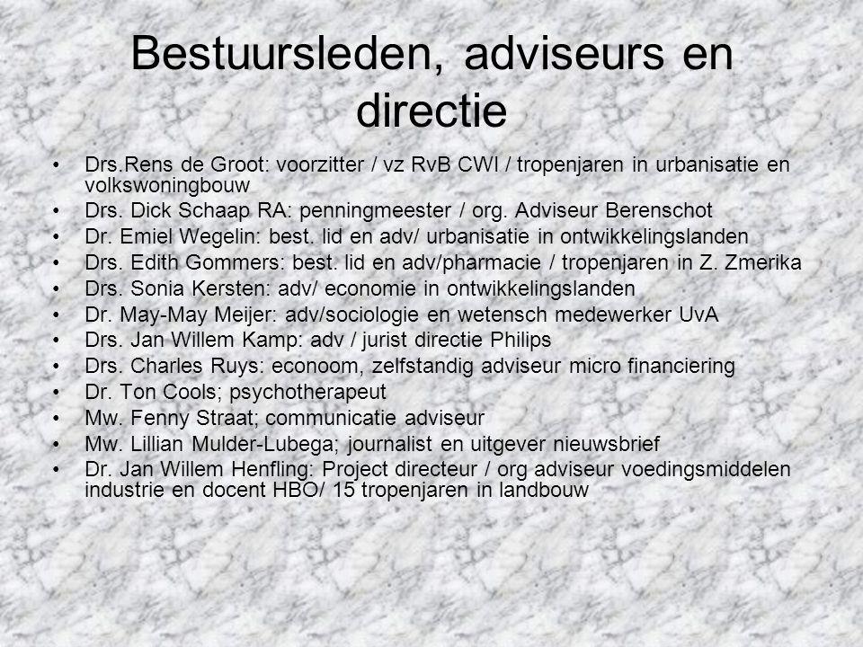 Bestuursleden, adviseurs en directie Drs.Rens de Groot: voorzitter / vz RvB CWI / tropenjaren in urbanisatie en volkswoningbouw Drs. Dick Schaap RA: p