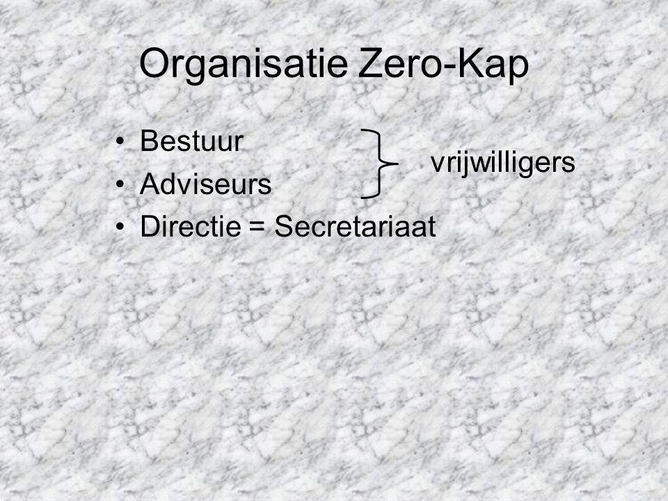 Organisatie Zero-Kap Bestuur Adviseurs Directie = Secretariaat vrijwilligers
