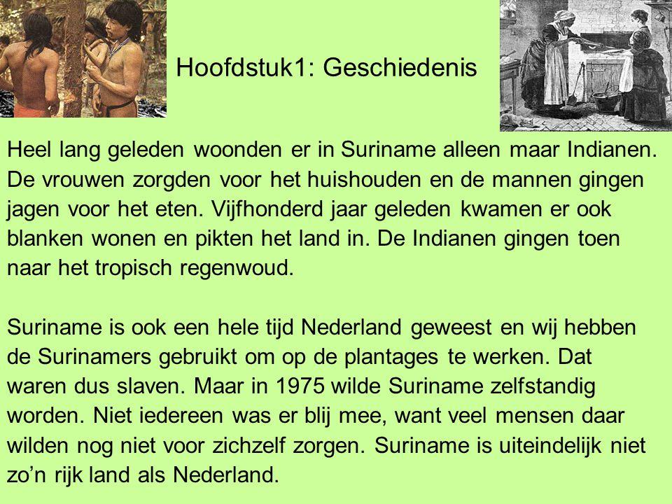 Hoofdstuk1: Geschiedenis Heel lang geleden woonden er in Suriname alleen maar Indianen.