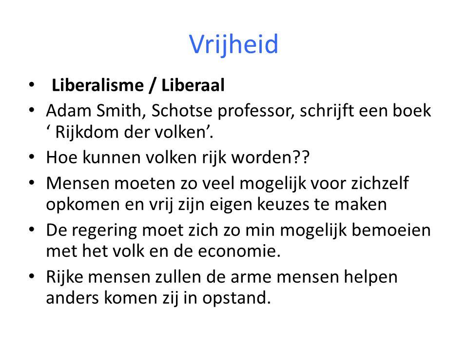 Vrijheid Liberalisme / Liberaal Adam Smith, Schotse professor, schrijft een boek ' Rijkdom der volken'.