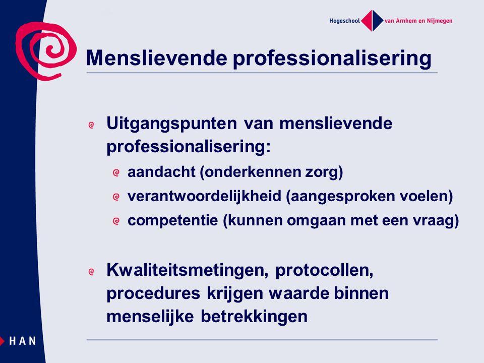 Menslievende professionalisering Uitgangspunten van menslievende professionalisering: aandacht (onderkennen zorg) verantwoordelijkheid (aangesproken v