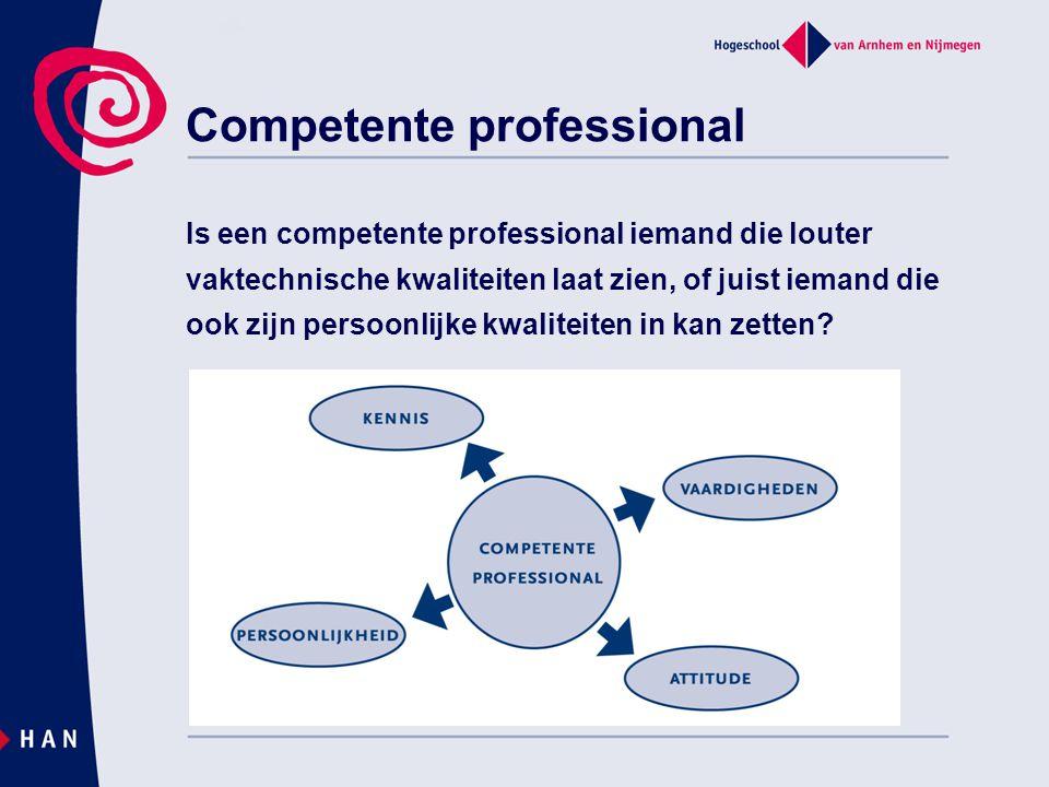 Competente professional Is een competente professional iemand die louter vaktechnische kwaliteiten laat zien, of juist iemand die ook zijn persoonlijk
