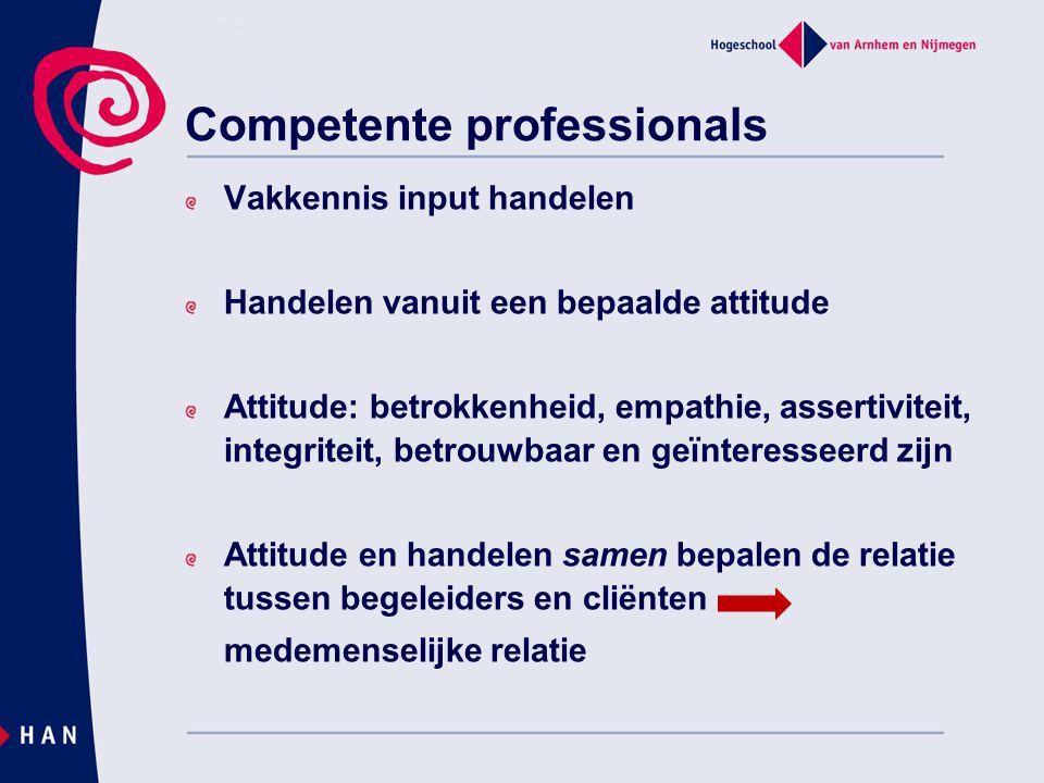 Competente professionals Vakkennis input handelen Handelen vanuit een bepaalde attitude Attitude: betrokkenheid, empathie, assertiviteit, integriteit,