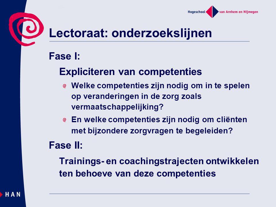 Lectoraat: onderzoekslijnen Fase I: Expliciteren van competenties Welke competenties zijn nodig om in te spelen op veranderingen in de zorg zoals verm