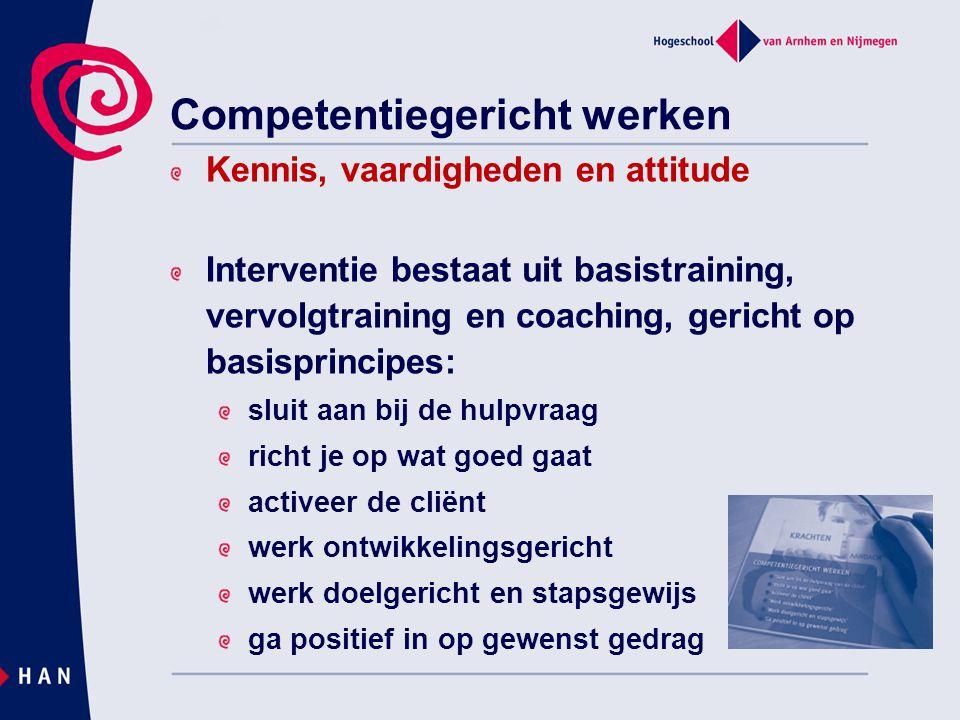Competentiegericht werken Kennis, vaardigheden en attitude Interventie bestaat uit basistraining, vervolgtraining en coaching, gericht op basisprincip