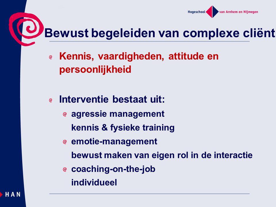 Bewust begeleiden van complexe cliënt Kennis, vaardigheden, attitude en persoonlijkheid Interventie bestaat uit: agressie management kennis & fysieke