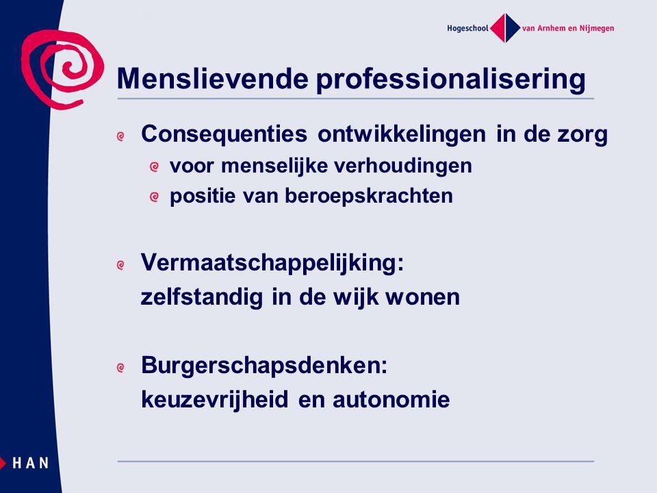 Menslievende professionalisering Consequenties ontwikkelingen in de zorg voor menselijke verhoudingen positie van beroepskrachten Vermaatschappelijkin