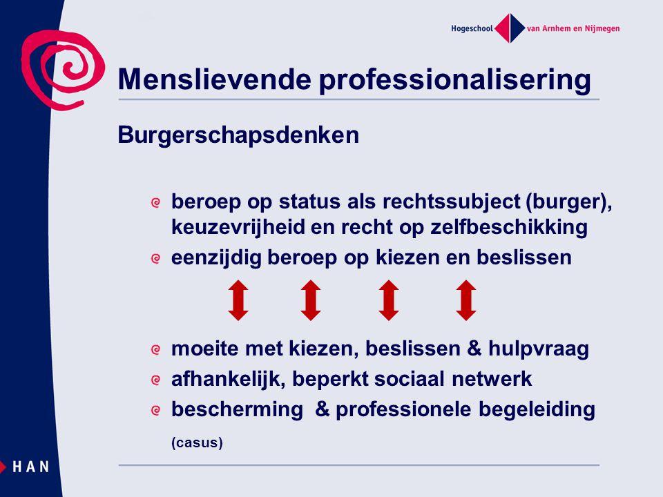 Menslievende professionalisering Burgerschapsdenken beroep op status als rechtssubject (burger), keuzevrijheid en recht op zelfbeschikking eenzijdig b