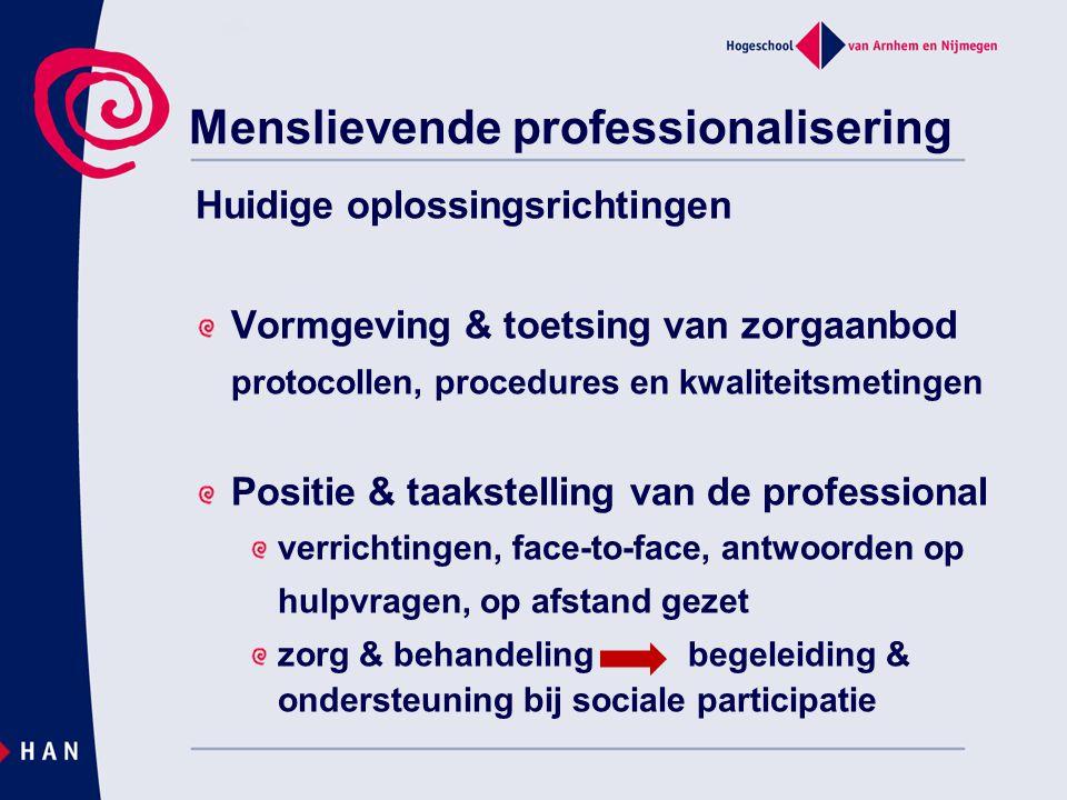 Menslievende professionalisering Huidige oplossingsrichtingen Vormgeving & toetsing van zorgaanbod protocollen, procedures en kwaliteitsmetingen Posit