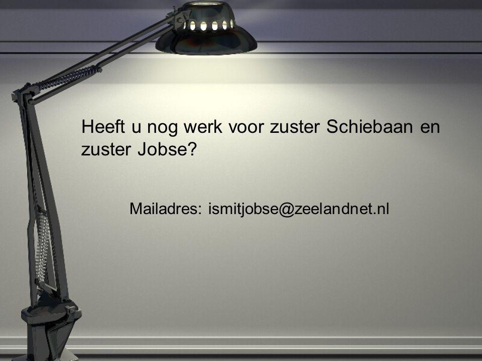 Heeft u nog werk voor zuster Schiebaan en zuster Jobse? Mailadres: ismitjobse@zeelandnet.nl