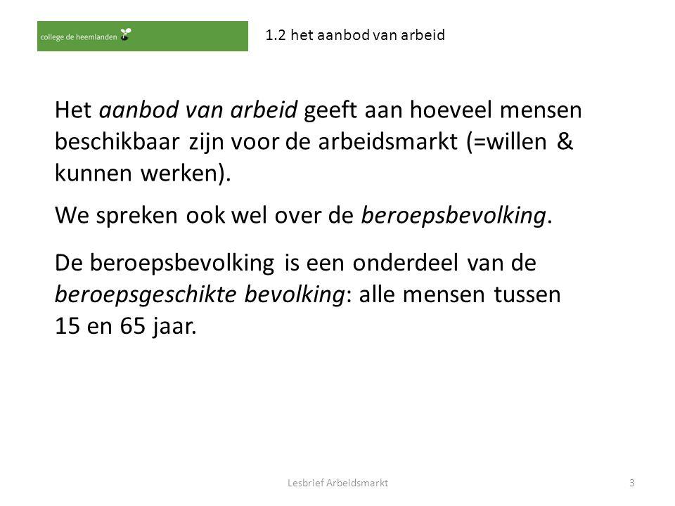 Lesbrief Arbeidsmarkt3 1.2 het aanbod van arbeid Het aanbod van arbeid geeft aan hoeveel mensen beschikbaar zijn voor de arbeidsmarkt (=willen & kunne