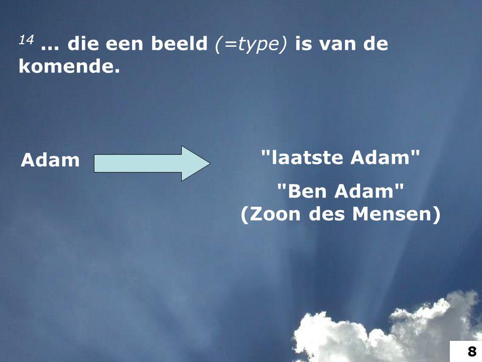 14... die een beeld (=type) is van de komende. Adam laatste Adam Ben Adam (Zoon des Mensen) 8