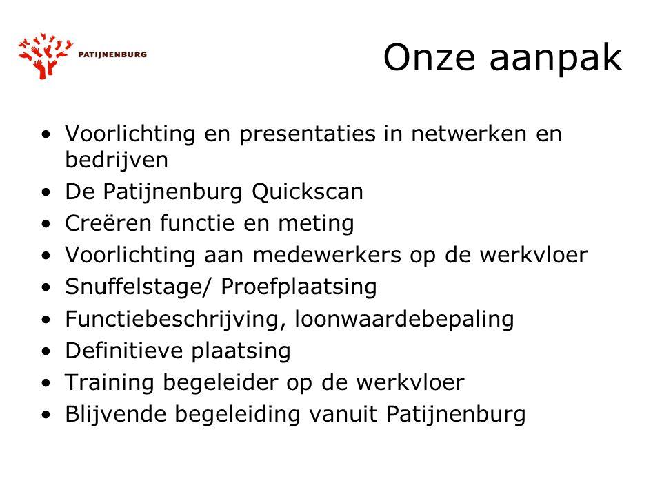 Onze aanpak Voorlichting en presentaties in netwerken en bedrijven De Patijnenburg Quickscan Creëren functie en meting Voorlichting aan medewerkers op