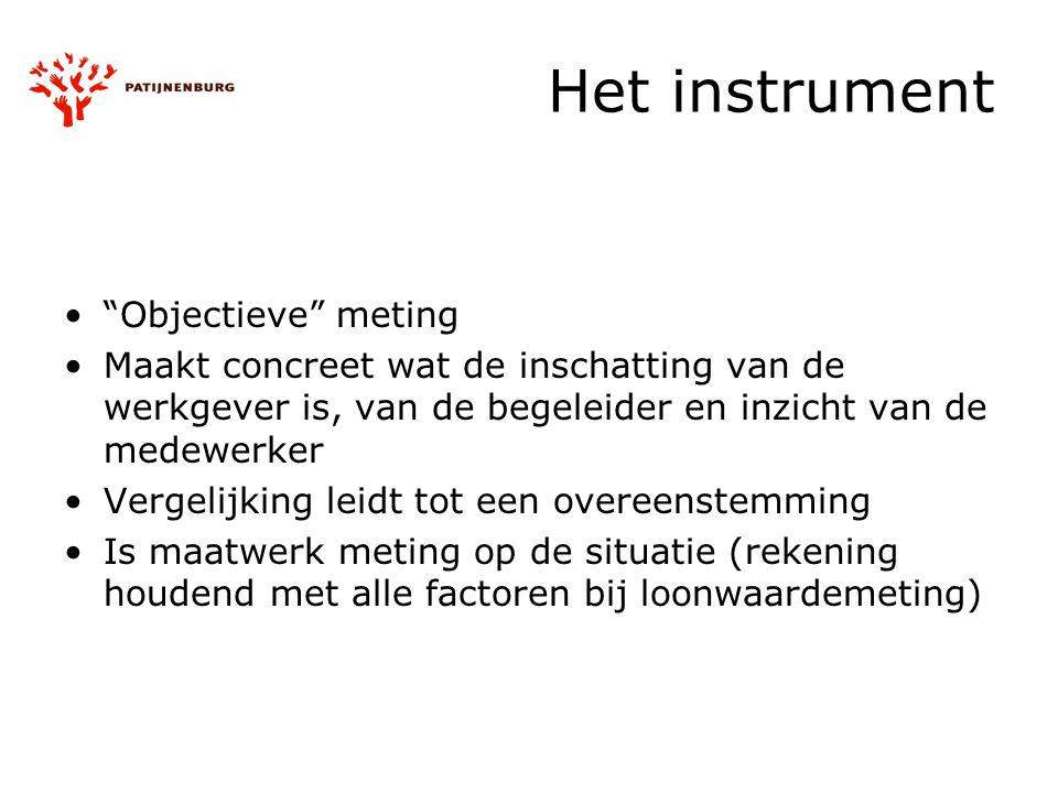 """Het instrument """"Objectieve"""" meting Maakt concreet wat de inschatting van de werkgever is, van de begeleider en inzicht van de medewerker Vergelijking"""