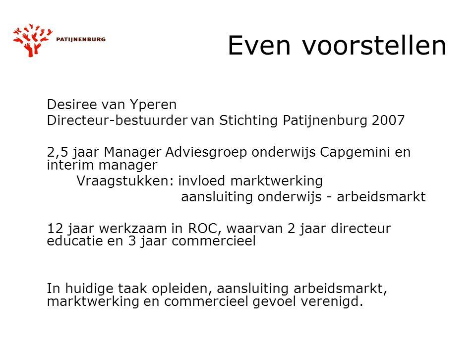 Even voorstellen Desiree van Yperen Directeur-bestuurder van Stichting Patijnenburg 2007 2,5 jaar Manager Adviesgroep onderwijs Capgemini en interim m