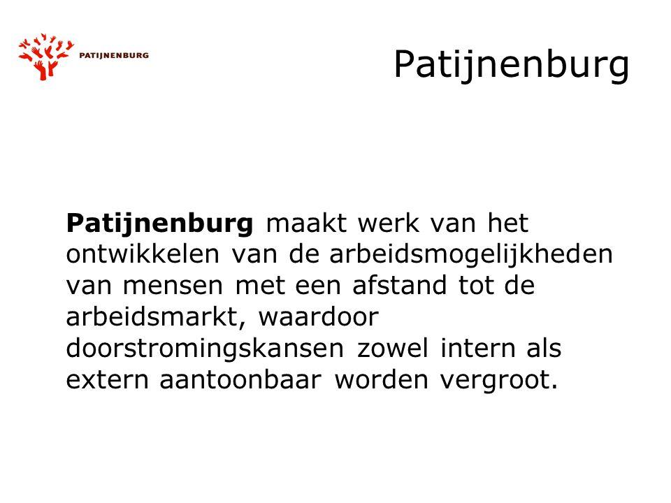 Patijnenburg Patijnenburg maakt werk van het ontwikkelen van de arbeidsmogelijkheden van mensen met een afstand tot de arbeidsmarkt, waardoor doorstromingskansen zowel intern als extern aantoonbaar worden vergroot.