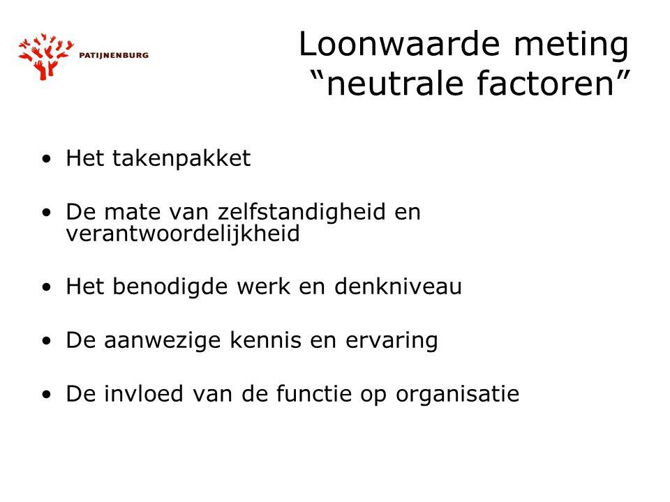 """Loonwaarde meting """"neutrale factoren"""" Het takenpakket De mate van zelfstandigheid en verantwoordelijkheid Het benodigde werk en denkniveau De aanwezig"""
