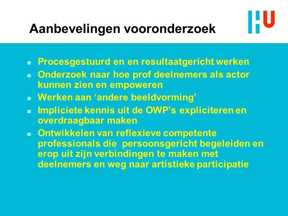 Aanbevelingen vooronderzoek n Procesgestuurd en en resultaatgericht werken n Onderzoek naar hoe prof deelnemers als actor kunnen zien en empoweren n W