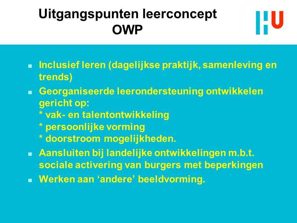 Uitgangspunten leerconcept OWP n Inclusief leren (dagelijkse praktijk, samenleving en trends) n Georganiseerde leerondersteuning ontwikkelen gericht op: * vak- en talentontwikkeling * persoonlijke vorming * doorstroom mogelijkheden.