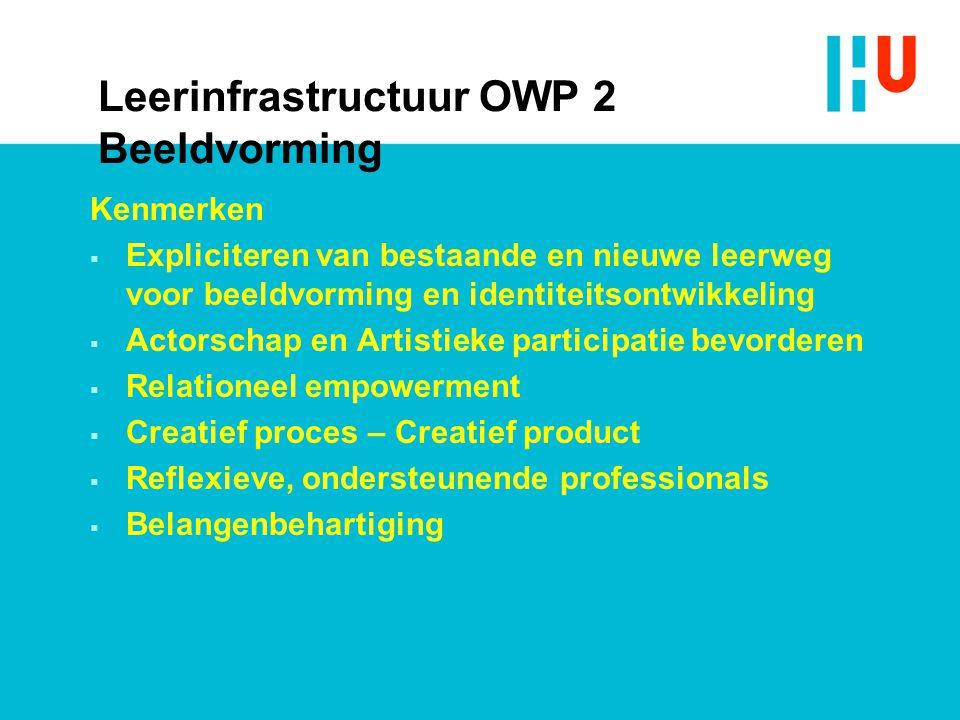 Kenmerken  Expliciteren van bestaande en nieuwe leerweg voor beeldvorming en identiteitsontwikkeling  Actorschap en Artistieke participatie bevorderen  Relationeel empowerment  Creatief proces – Creatief product  Reflexieve, ondersteunende professionals  Belangenbehartiging Leerinfrastructuur OWP 2 Beeldvorming