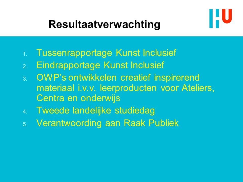 Resultaatverwachting 1. Tussenrapportage Kunst Inclusief 2.