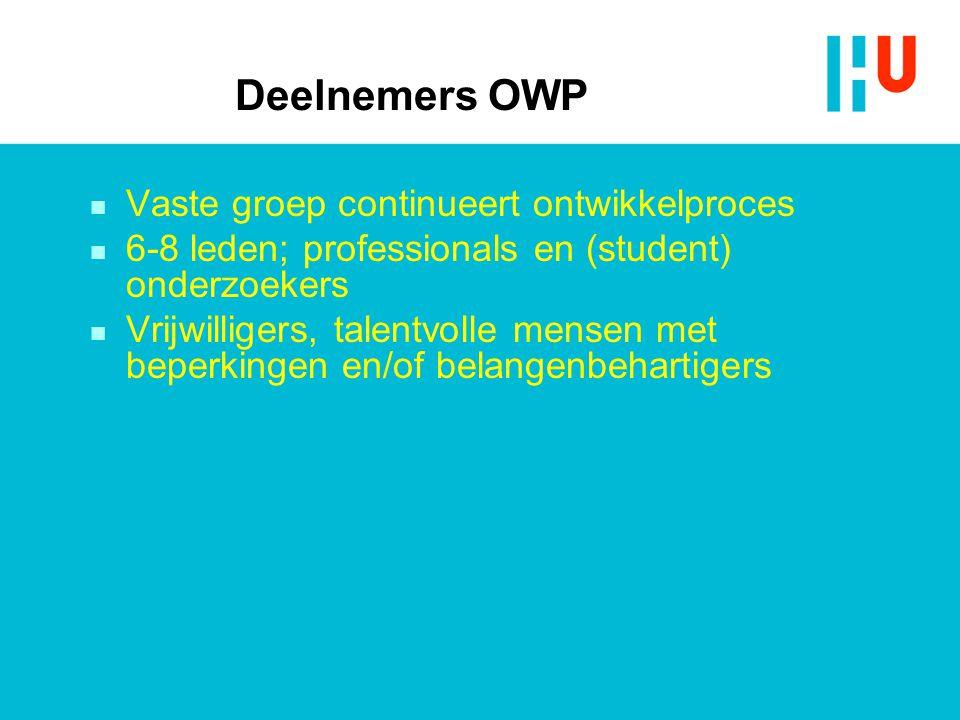 Deelnemers OWP n Vaste groep continueert ontwikkelproces n 6-8 leden; professionals en (student) onderzoekers n Vrijwilligers, talentvolle mensen met beperkingen en/of belangenbehartigers