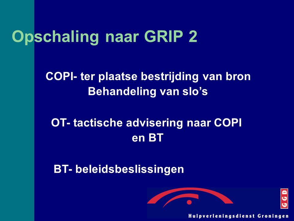 Opschaling naar GRIP 2 COPI- ter plaatse bestrijding van bron Behandeling van slo's OT- tactische advisering naar COPI en BT BT- beleidsbeslissingen