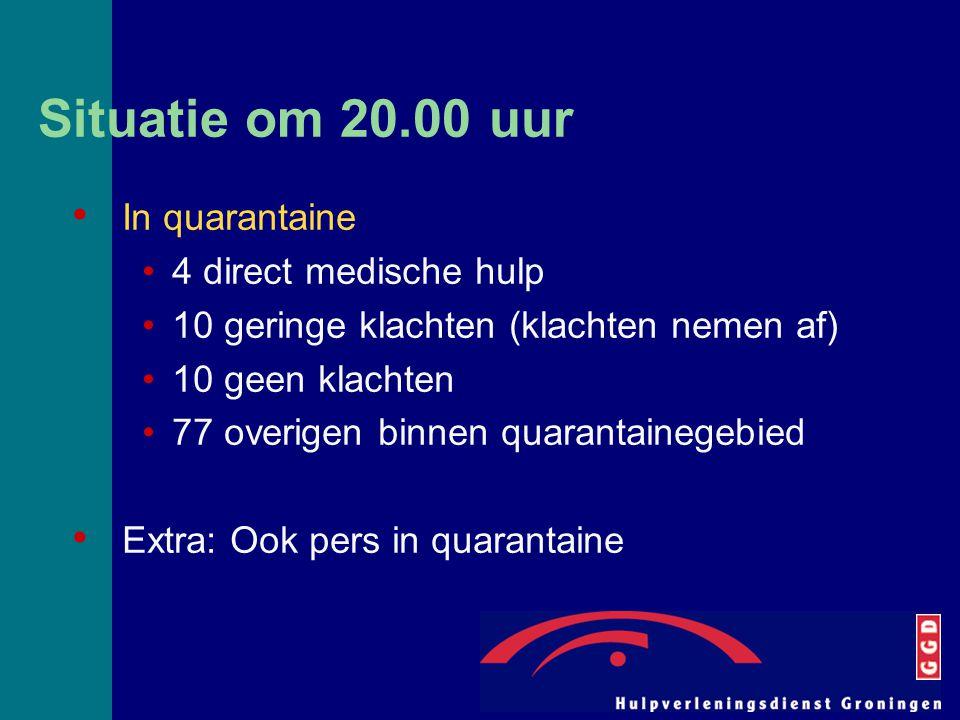 Situatie om 20.00 uur In quarantaine 4 direct medische hulp 10 geringe klachten (klachten nemen af) 10 geen klachten 77 overigen binnen quarantainegeb