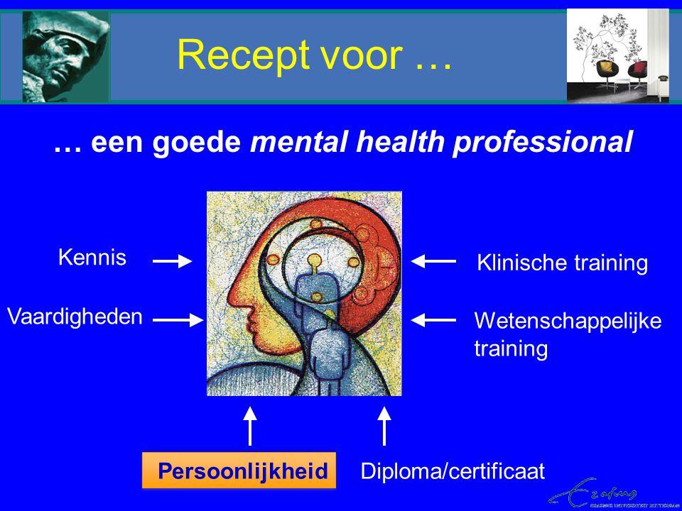 Recept voor … … een goede mental health professional Kennis Klinische training Diploma/certificaat Vaardigheden Persoonlijkheid Wetenschappelijke trai