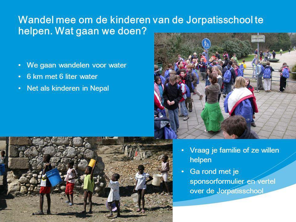 Wandel mee om de kinderen van de Jorpatisschool te helpen. Wat gaan we doen? Vraag je familie of ze willen helpen Ga rond met je sponsorformulier en v