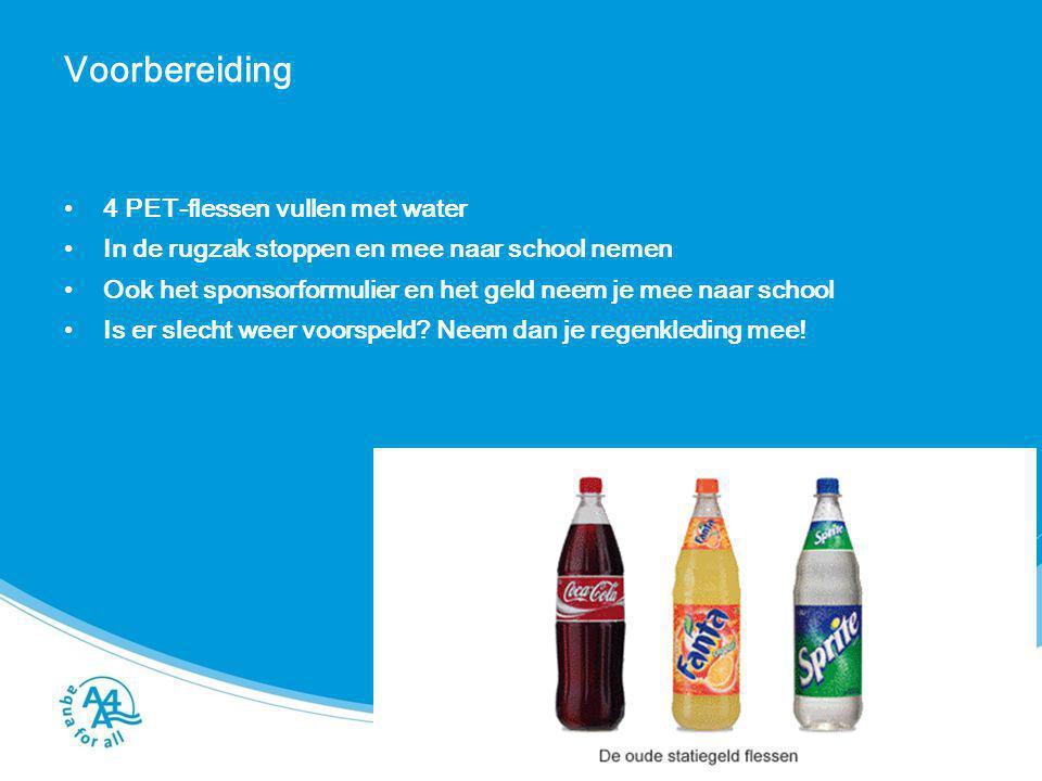 Voorbereiding 4 PET-flessen vullen met water In de rugzak stoppen en mee naar school nemen Ook het sponsorformulier en het geld neem je mee naar schoo