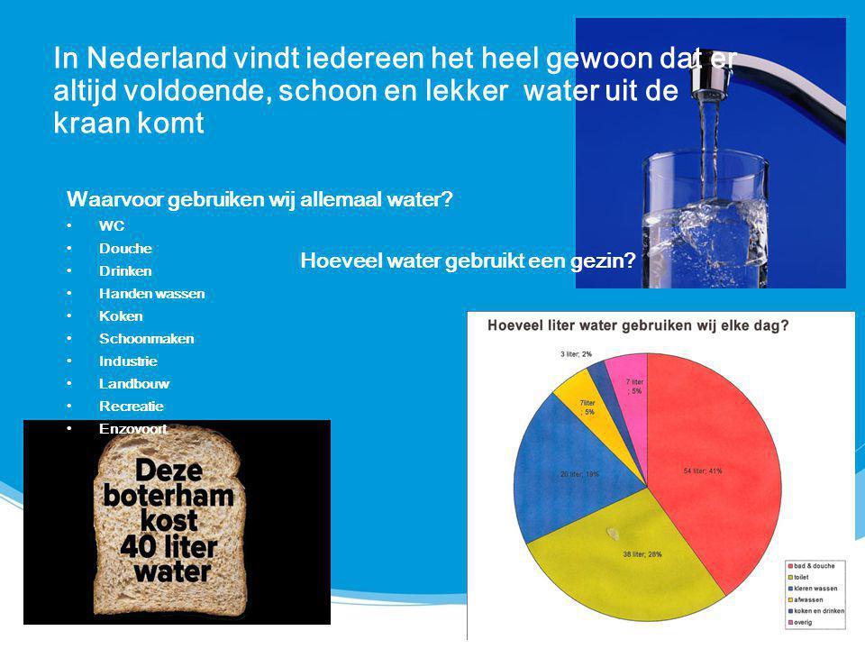 In Nederland vindt iedereen het heel gewoon dat er altijd voldoende, schoon en lekker water uit de kraan komt Waarvoor gebruiken wij allemaal water? W