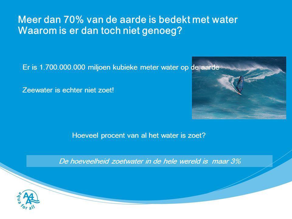 Meer dan 70% van de aarde is bedekt met water Waarom is er dan toch niet genoeg? Er is 1.700.000.000 miljoen kubieke meter water op de aarde Zeewater
