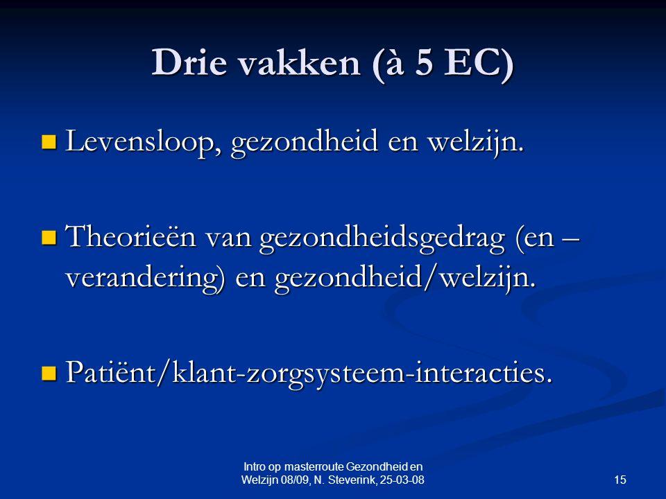 15 Intro op masterroute Gezondheid en Welzijn 08/09, N. Steverink, 25-03-08 Drie vakken (à 5 EC) Levensloop, gezondheid en welzijn. Levensloop, gezond