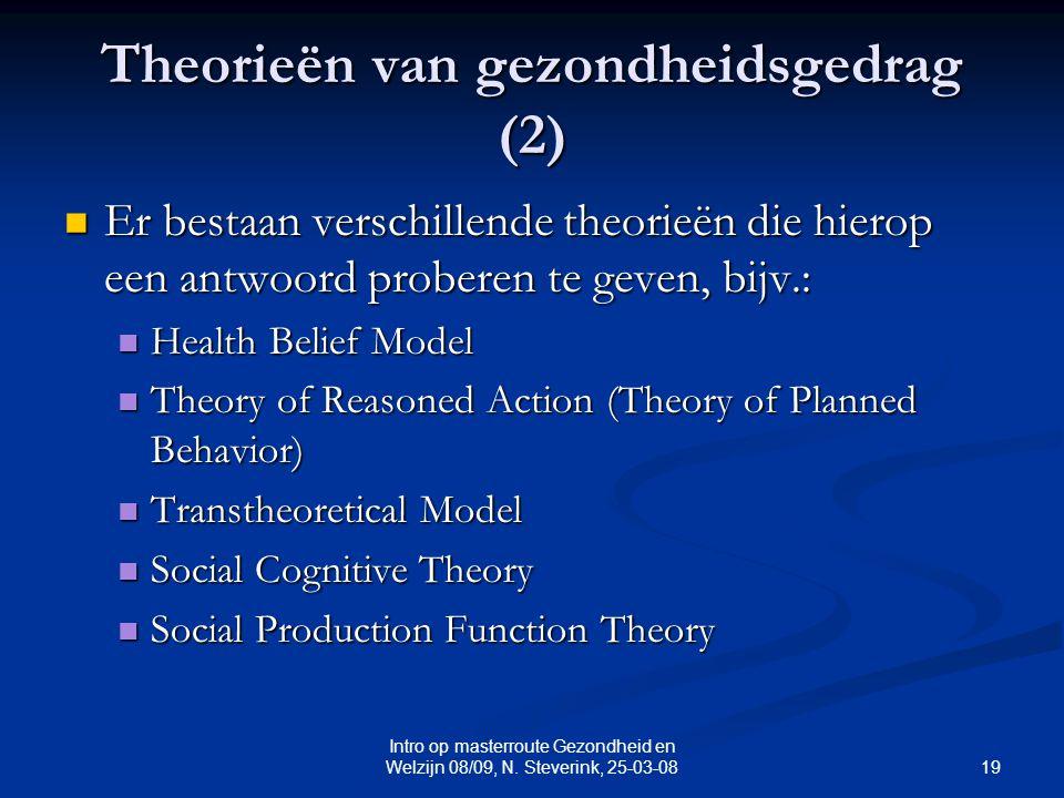 19 Intro op masterroute Gezondheid en Welzijn 08/09, N. Steverink, 25-03-08 Theorieën van gezondheidsgedrag (2) Er bestaan verschillende theorieën die