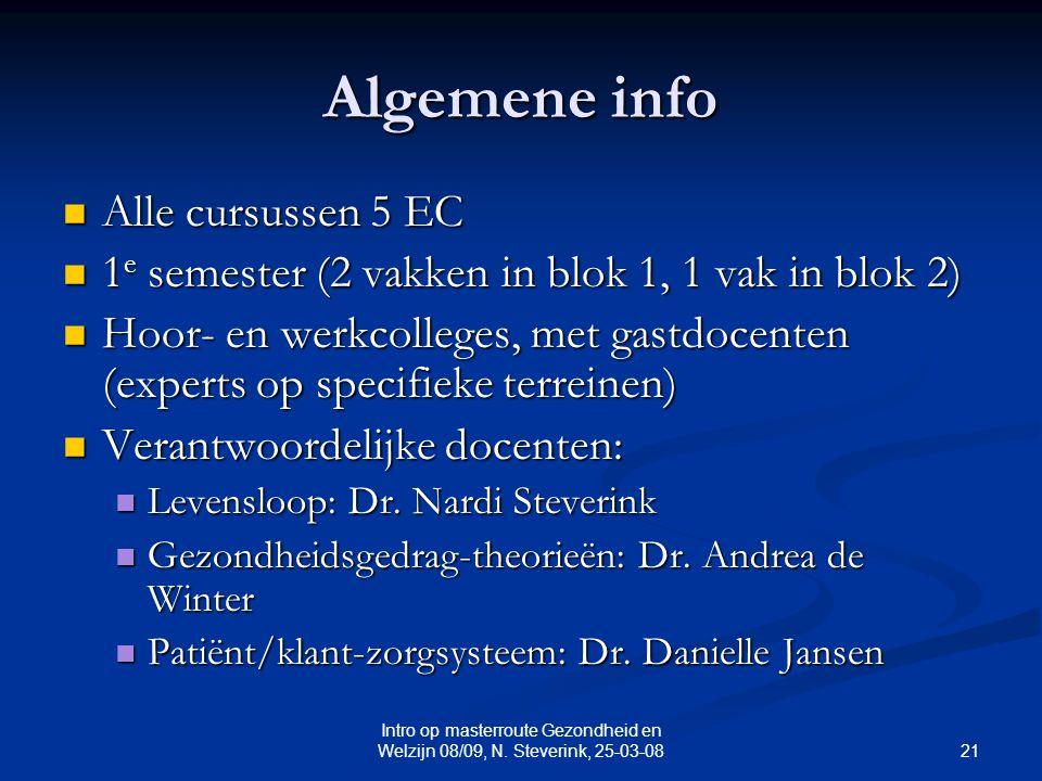 21 Intro op masterroute Gezondheid en Welzijn 08/09, N.