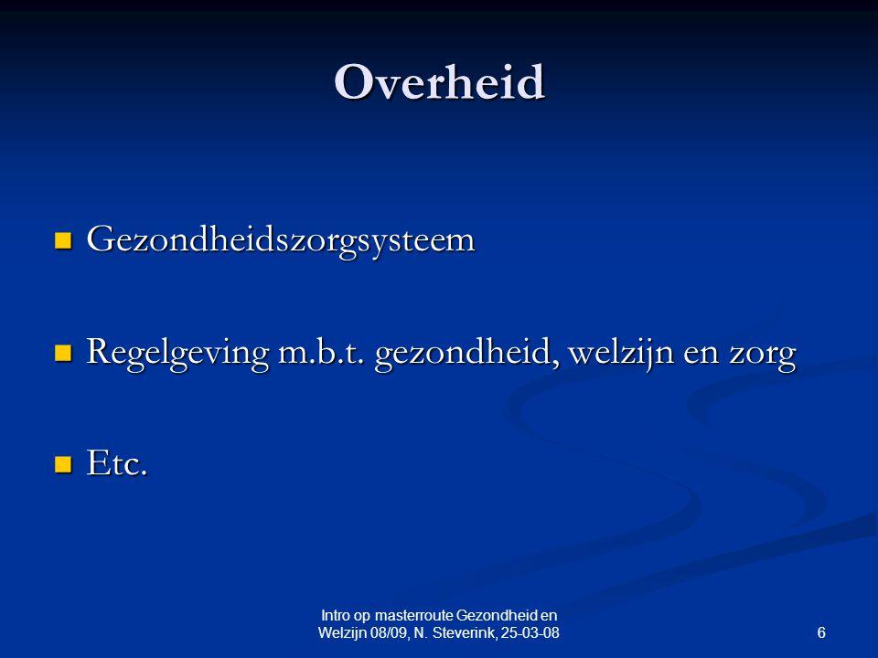 6 Intro op masterroute Gezondheid en Welzijn 08/09, N. Steverink, 25-03-08 Overheid Gezondheidszorgsysteem Gezondheidszorgsysteem Regelgeving m.b.t. g
