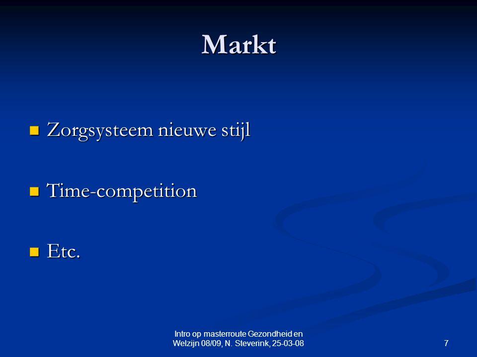 7 Intro op masterroute Gezondheid en Welzijn 08/09, N. Steverink, 25-03-08 Markt Zorgsysteem nieuwe stijl Zorgsysteem nieuwe stijl Time-competition Ti